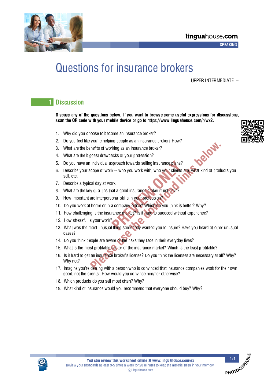 Questions for insurance brokers: Worksheet Preview ...